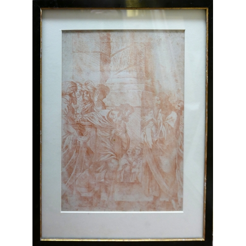 2033 - 17th century Italian School, a figural study, red chalk drawing on paper, bearing indistinct pencil ...