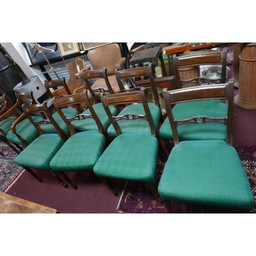 101 - A set of ten Regency mahogany dining chairs, to include two carvers, raised on turned legs...