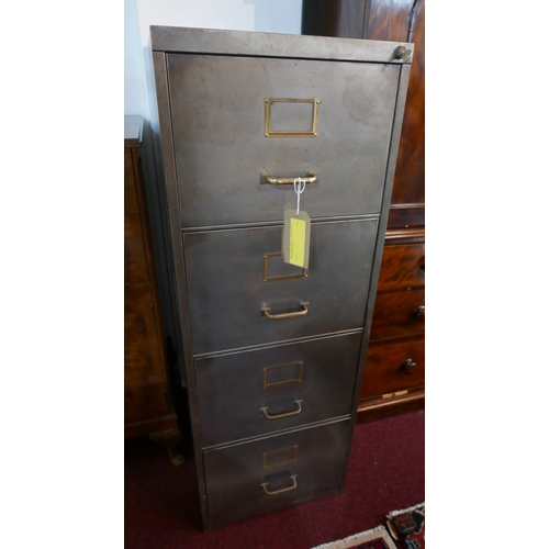 318 - A vintage four drawer metal filing cabinet with brass handles, H.134 W.37 D.62cm...
