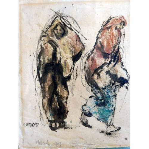 2021 - William Conor, (Irish, 1881-1968), 'Mill Girls, 1908', together with similar study, ink drawing with...