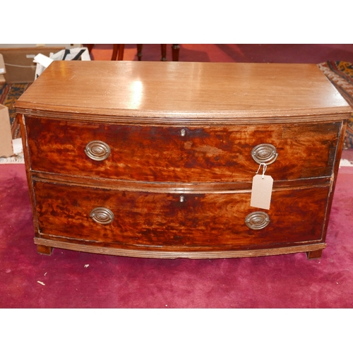 191 - A cut down Georgian bow front chest with two drawers, H.57 W.101 D.50cm...