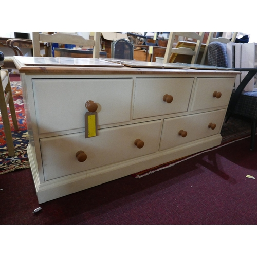 320 - A painted pine chest of two short over three long, raised on stepped base, H.58 W.137 D.45cm...