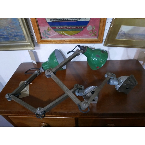 337 - A pair of industrial EDL adjustable task lamps with green enamelled shades (2)...