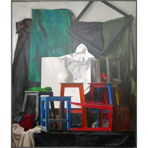 43 - Sokolov It (St Petersberg school), Still life of stools, frames, a vase and fabric, oil on canvas, i...