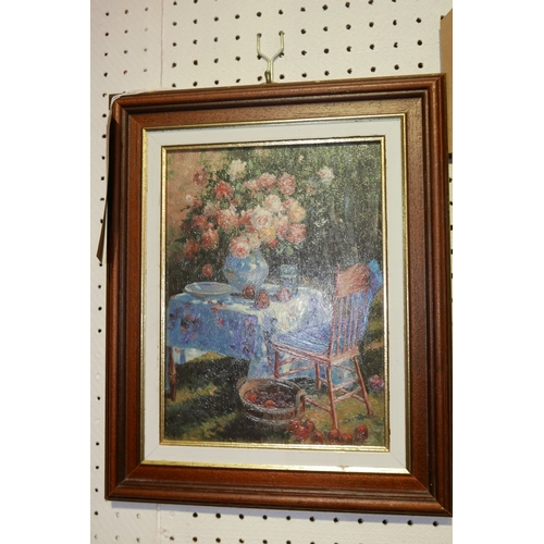 347 - Unsigned, A framed oil on canvas of a still-life depicting a table in a sunlit garden with vase of r...