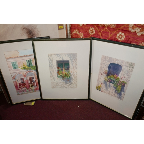 348 - A set of three 20th Century prince of house exteriors, two signed Simon Bull and another signed Fran...