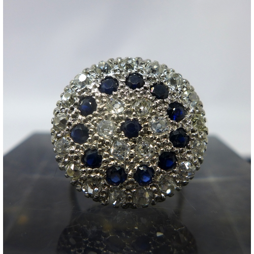 1011 - A boxed 18ct yellow gold and white gold antique large ladies dress ring, pave set with brilliant cut...