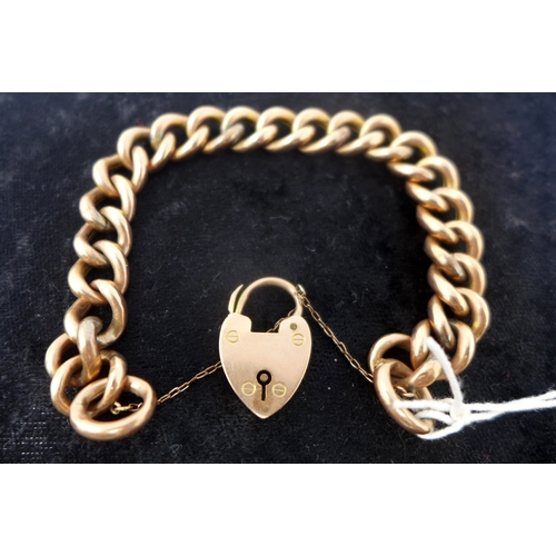 1013 - A ladies 9ct rose gold Victorian chunky link bracelet with heart padlock clasp, in original box. 18....