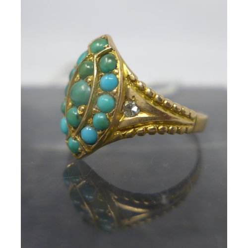 1025 - A Victorian 15ct yellow gold, turquoise and diamond ring, centrally studded with fifteen turquoise c...