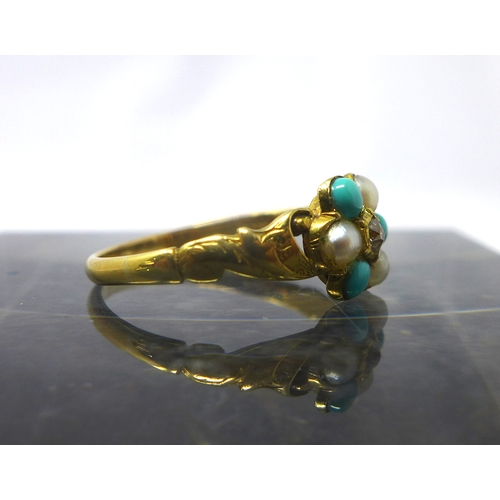 1038 - An antique 18ct yellow gold, turquoise, pearl and diamond flower-head ring with carved gold shoulder...
