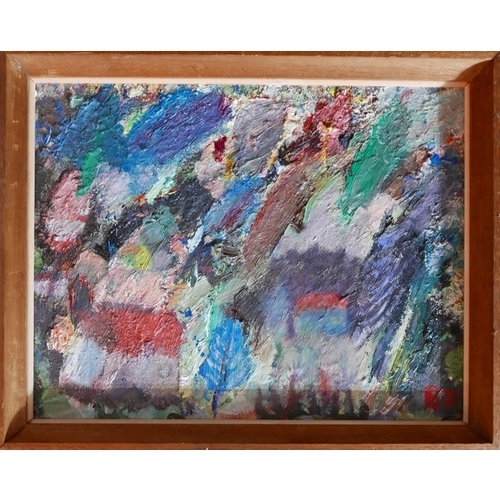 259 - 20th century school, Abstract study of a village, oil on board, monogrammed 'BR' lower right, 34 x 4...