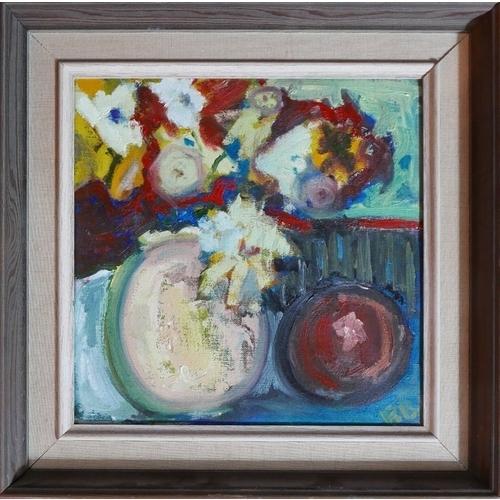 246 - 20th century school, Still life of fruit, oil on canvas, monogrammed 'BR' lower right, 30 x 29cm...