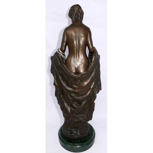 188 - After Augustus Rubin, a cast bronze figure of an Art Nouveau style nude lady, bearing signature to b...