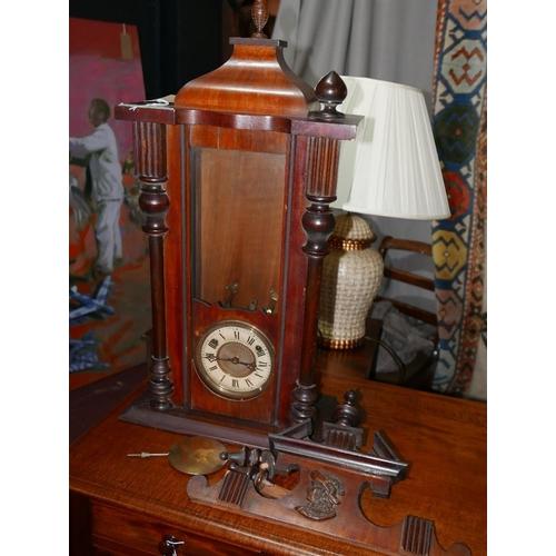 217 - A late 19th century mahogany Vienna wall clock, H.106cm...