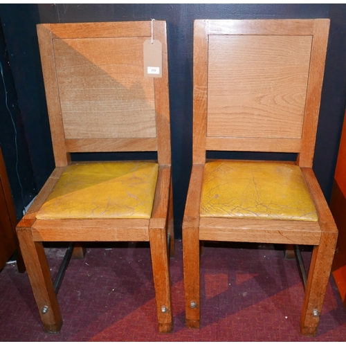 258 - A pair of Art Deco oak chairs with chrome stretchers...