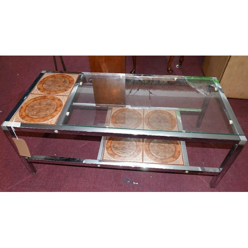 260 - A mid 20th century chrome coffee table, with glass and tiled top, H.39 W.100 D.45cm...