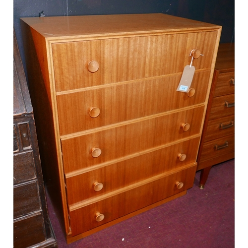278 - A 20th century Merridew light oak chest of five drawers, raised on plinth base, H.100 W.76 D.46cm...