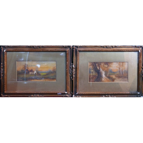 28 - M.D. Ansell, two oil on board studies, one of a cottage at sunset, and one of a stream through a woo...