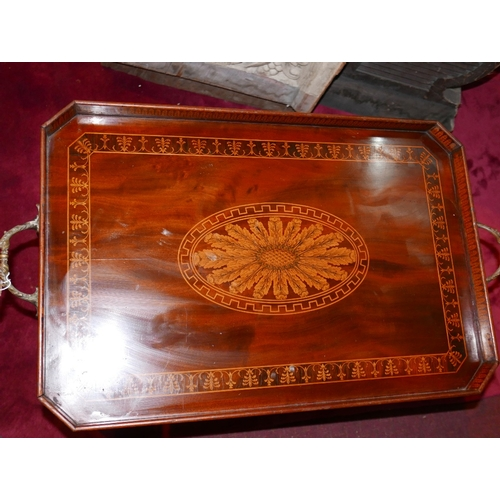 165 - An Edwardian Sheraton Revival mahogany tray top table, profusely decorated with marquetry inlay and ...