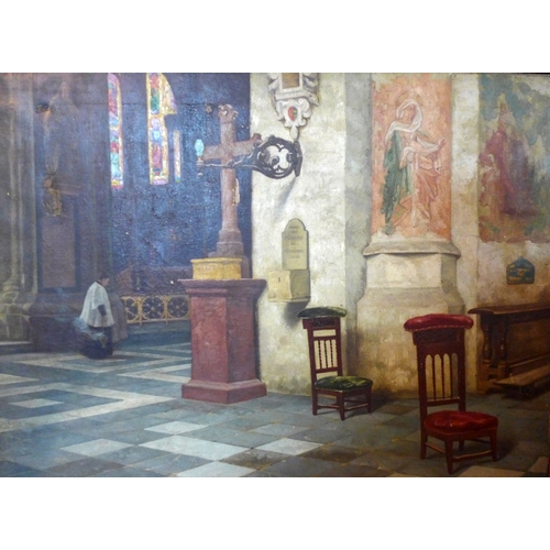48 - R. Van Der Brugge (19th century Flemish school), interior church scene, oil on canvas, damage to can...