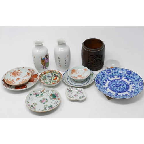 7 - A collection of 19th century and early 20th century Chinese porcelain dishes of varying size and dec...