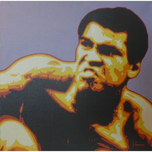 122 - George Ioannou, oil on canvas of Muhammad Ali, 'Your Hand Can't Hit, What Your Eyes Can't See', sign...