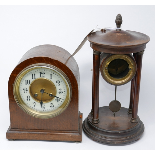98 - Two clocks to include a 19th century example with an architectural case composed of four columns wit...
