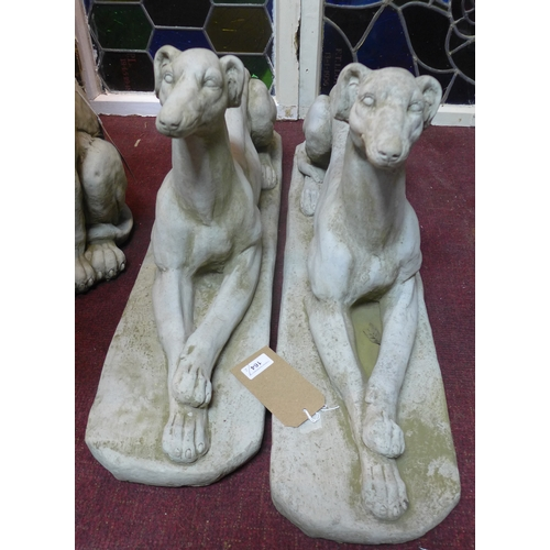 164 - A pair of reconstituted stone recumbent greyhounds, H.38 L.80 D.20cm...