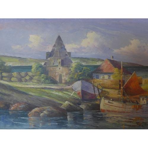 176 - A 20th century oil on canvas, coastal scene, signed, 66 x 95cm...