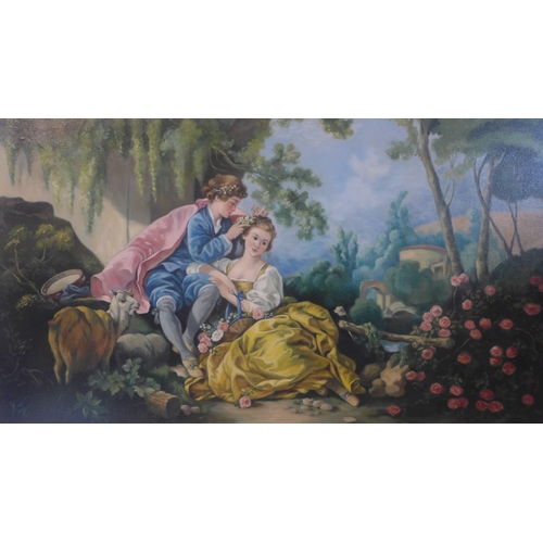 190 - Patricia Bunyan, 20th century oil on canvas, Classical Romantic scene, signed and dated 1982, 60 x 8...