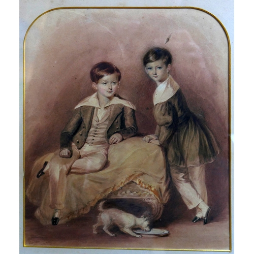 215 - B. Liegler, Portrait study of two boys and their dog, watercolour, signed and dated 1839, 29 x 24cm...