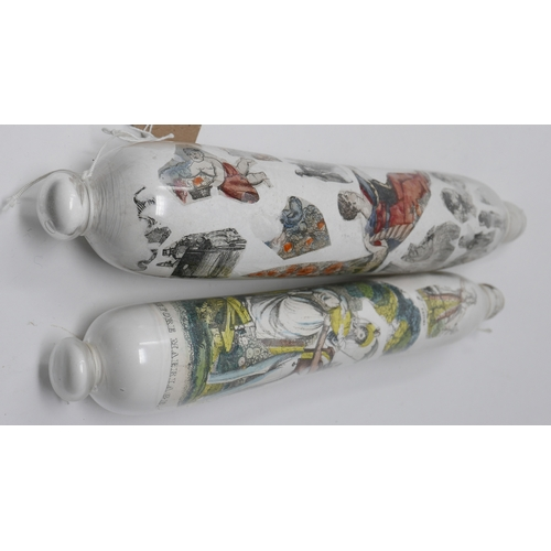 240 - Two Victorian glass rolling pins, decalcomania decorated with images of figures, animals and flowers...