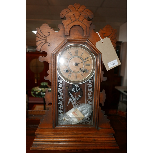 246 - An early 20th century American oak cased mantel clock, by Ansonia Clock Company, USA, eight day Belm...