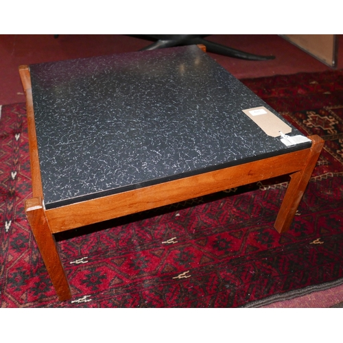 269 - A mid 20th century teak coffee table with formica top, H.31 W.61 D.61cm...