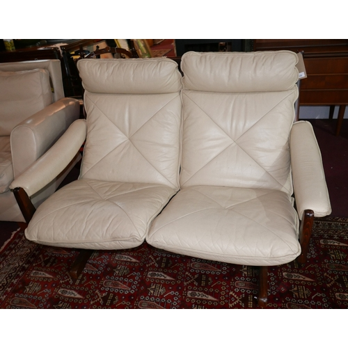 290 - A 1960s Norwegian two seater sofa, by Soda Galvano, with cream leather upholstery, H.95cm L.134cm D....