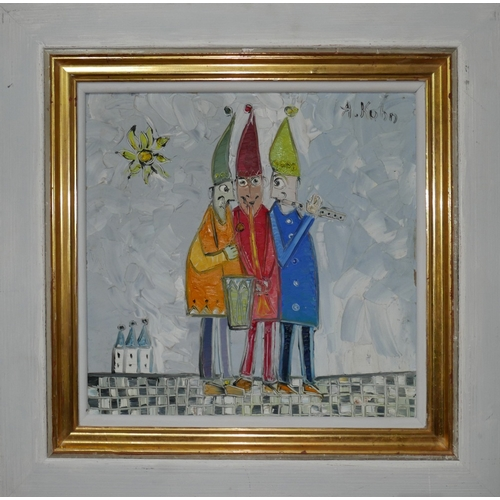 335 - Andrzej Kuhn (1929–2014), Three Jesters, oil on board, signed to top right, 28 x 28cm...
