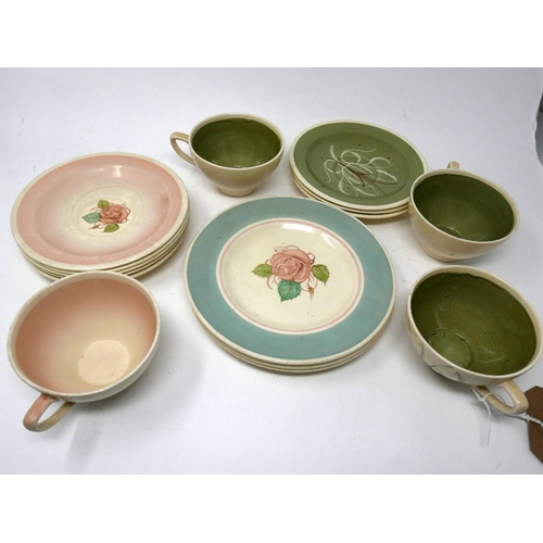370 - A set of four Susie Cooper cups and saucers...