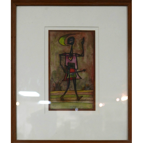 372 - A mid 20th century school, abstraction of a man, hand-cut watercolour and ink on card, signed and da...