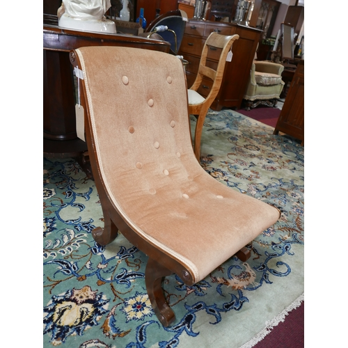 242 - An early 20th century Georgian style slipper chair, with velour upholstery, on scroll feet...