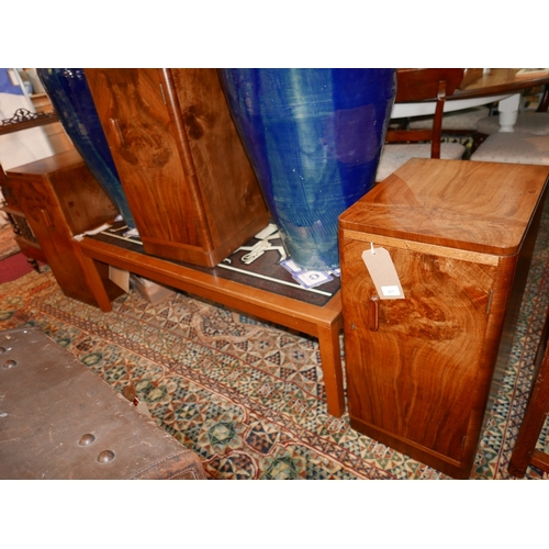 261 - A pair of early 20th century burr walnut pedestal cabinets, one enclosing three drawers, together wi...