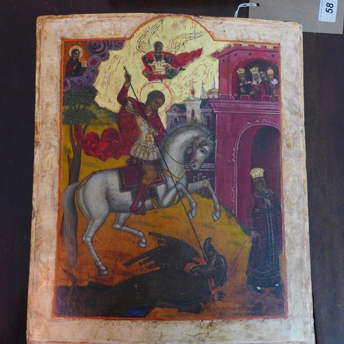 3 - An icon of St. George slaying the dragon, tempera on wood panel, H.37cm W.30cm...