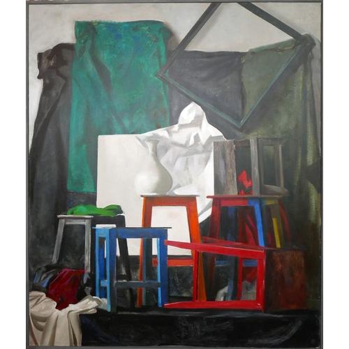 43 - Sokolov It (St Petersberg school), Still life of stools, frames, a vase and fabric, oil on canvas, i...