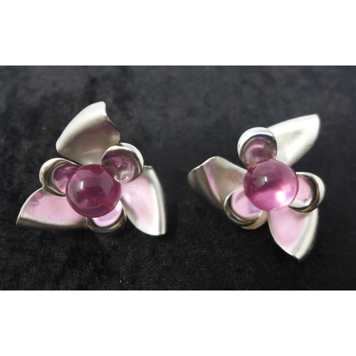 41 - A boxed pair of Chloe 'Narcisse' clip-on earrings, composed of a pink spherical stamen surrounded by...