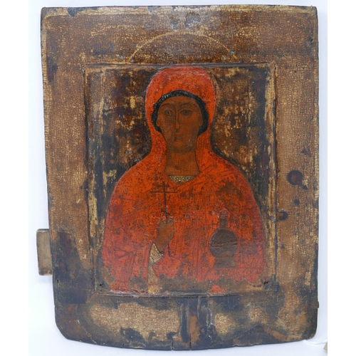 28 - A Russian icon of the Mother of God, tempera on wood panel, 31 x 26cm...