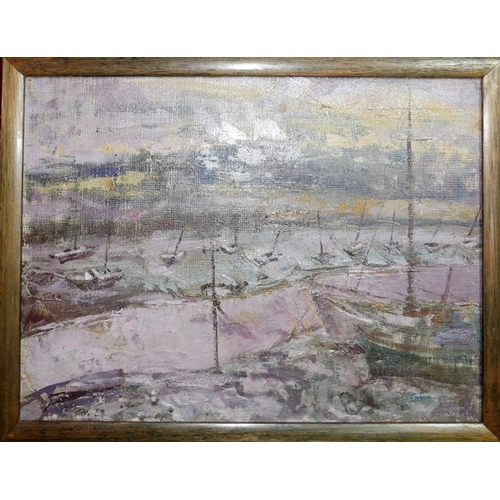 60 - Mid 20th century school, boats in a harbour, oil on canvas, indistinctly signed and dated 59 to lowe...