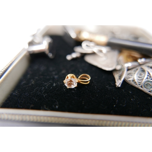27 - A collection of white metal, silver plated and gold plated jewellery, to include white metal earring...