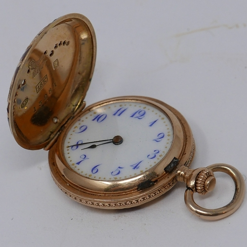 39 - An 18ct yellow gold, enamel and diamond inset full hunter ladies pocket watch, the porcelain dial wi...