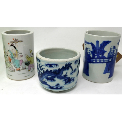 34 - Three 19th century Chinese porcelain brush pots to include a blue and white example decorated with f...