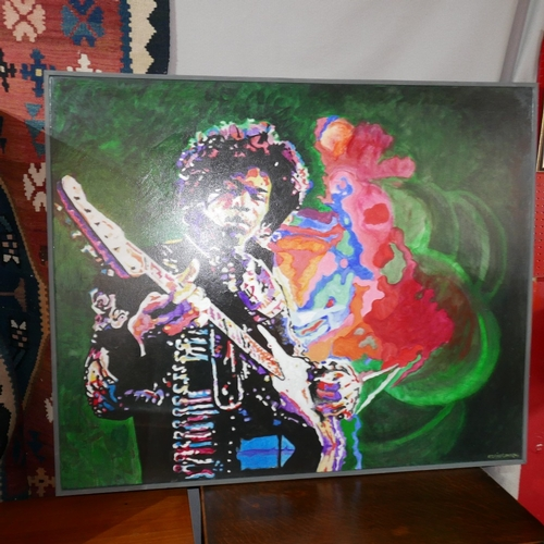 67 - WITHDRAWN - A contemporary oil on canvas of Jimmy Hendrix, signed 'D.T.PIPER.ONAQW' lower right, 100...