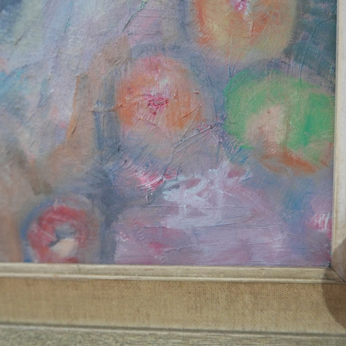 102 - Late 20th century school, Still life of Fruit, oil on board, monogrammed 'BR' lower right, 44 x 57cm